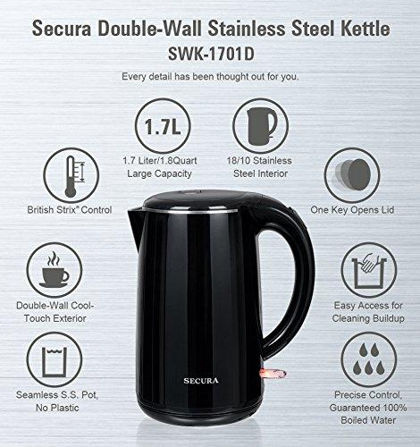 Secura 1.8 Quart Stainless Steel Cordless Electric Water Kettle Double Wall Cool Touch Exterior