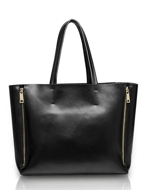 Kattee Women's Genuine Leather Double Zip Large Tote Shoulder Bag