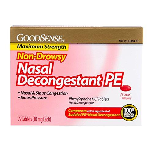 $1.88 GoodSense Nasal Decongestant Phenylephrine HCl 10 mg tablets, 72-count