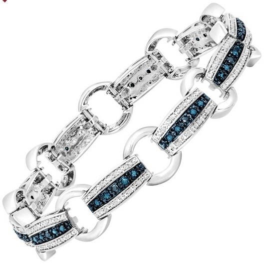 1 ct Blue & White Diamond Link Bracelet