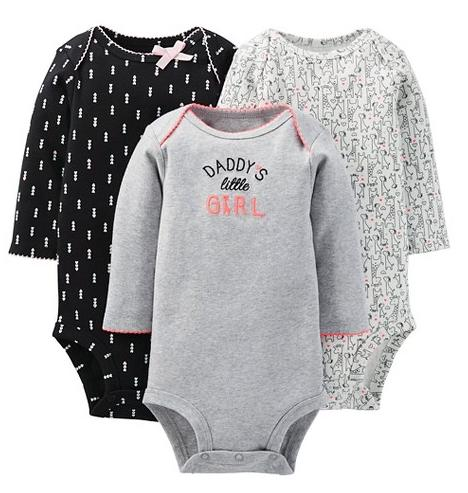 $3.58 Just One You Made By Carter's Newborn Girls' 3-Pack Bodysuit Set