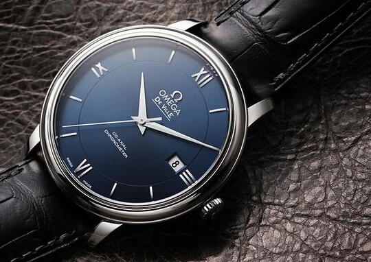 Omega De Ville Prestige Blue Dial Black Leather Men's Watch 42413402003001