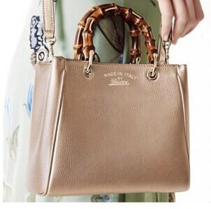 $1340 Gucci Bamboo Shopper Leather Tote, Beige @ MYHABIT