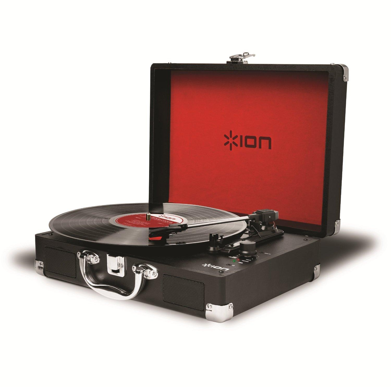 Ion Audio Vinyl Motion 3-Speed Belt Drive Suitcase Turntable with Built-In Speakers