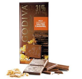 $14.86 Godiva Milk Chocolate Bar, Salted Caramel, 3.5 Ounces (Pack of 5)