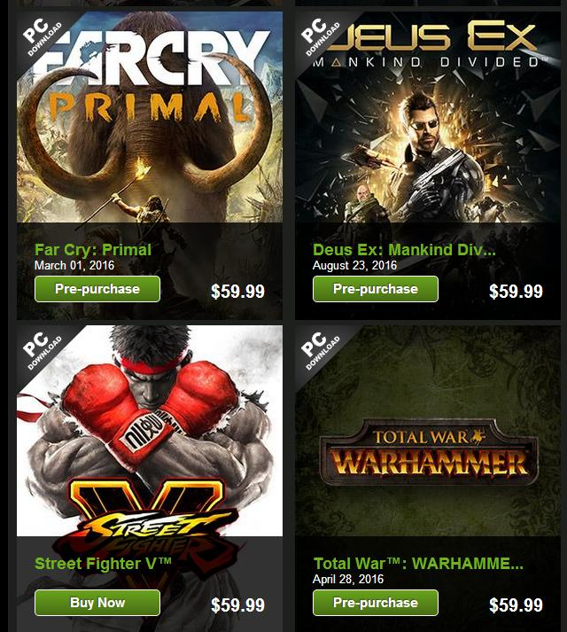 25% off Most Anticipated Games of 2016 on Greenman Gaming