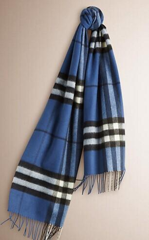 BURBERRY Classic Cashmere Scarf in Check - Cadet Blue @ JomaShop.com