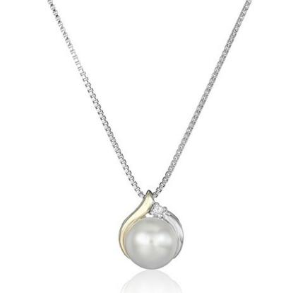 Today only! $43.99 Sterling Silver and 14k Yellow Gold Diamond Accent Freshwater Cultured Pearl Pendant Necklace, 18