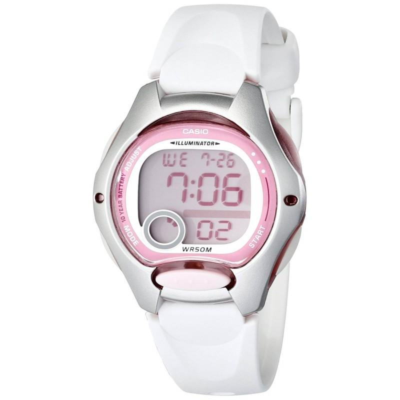 Casio Women's LW200-7AV Sports Illuminator White Resin Strap and Pink Dial Digital Watch