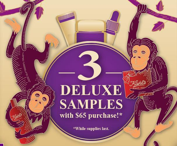 Free 3 Deluxe Sample + Free Shipping With any $65 Purchase @ kiehl's