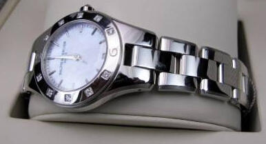 Baume and Mercier Linea Mother of Pearl Stainless Steel Diamond Ladies Watch 10071