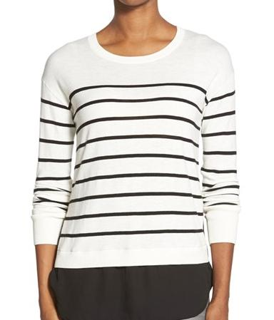 Halogen® Woven Hem Layered Look Sweater (Regular & Petite) @ Nordstrom
