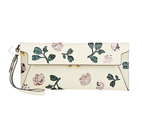 $729+$50GC MARNI Floral-Python-Appliqué Pochette @ Barneys New York
