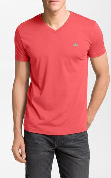 Lacoste Pima Cotton Jersey V-Neck T-Shirt On Sale @ Nordstrom
