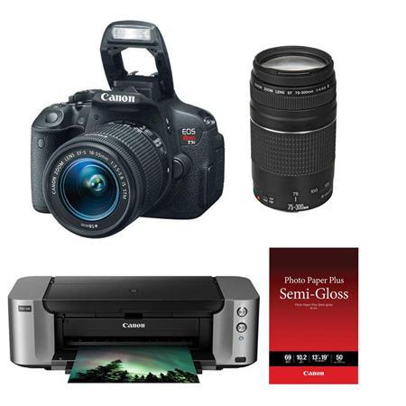 $449 Canon EOS Rebel T5i DSLR Camera with 18-55mm & EF 75-300mm F/4-5.6 III AF Lens Special Promotional Bundle