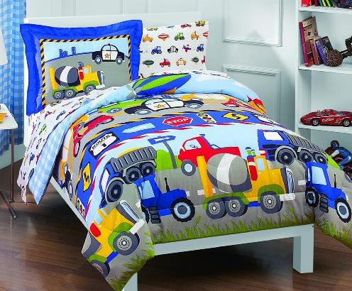 Dream Factory Trucks Tractors Cars Boys 5-Piece Comforter Sheet Set, Blue Red, Twin @ Amazon