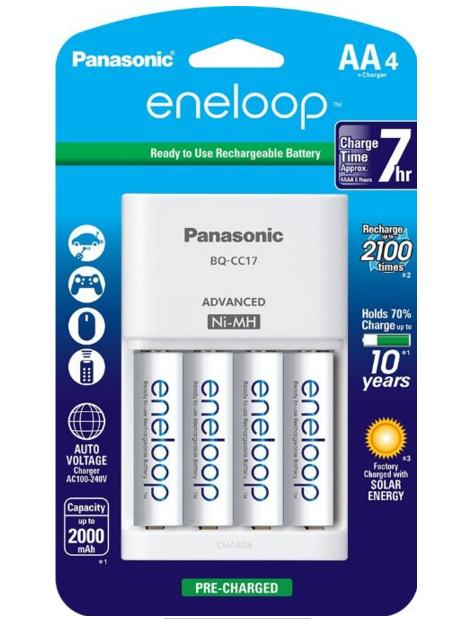 4-Pack Panasonic Eneloop 2000mAh Ni-MH Pre-Charged Batteries