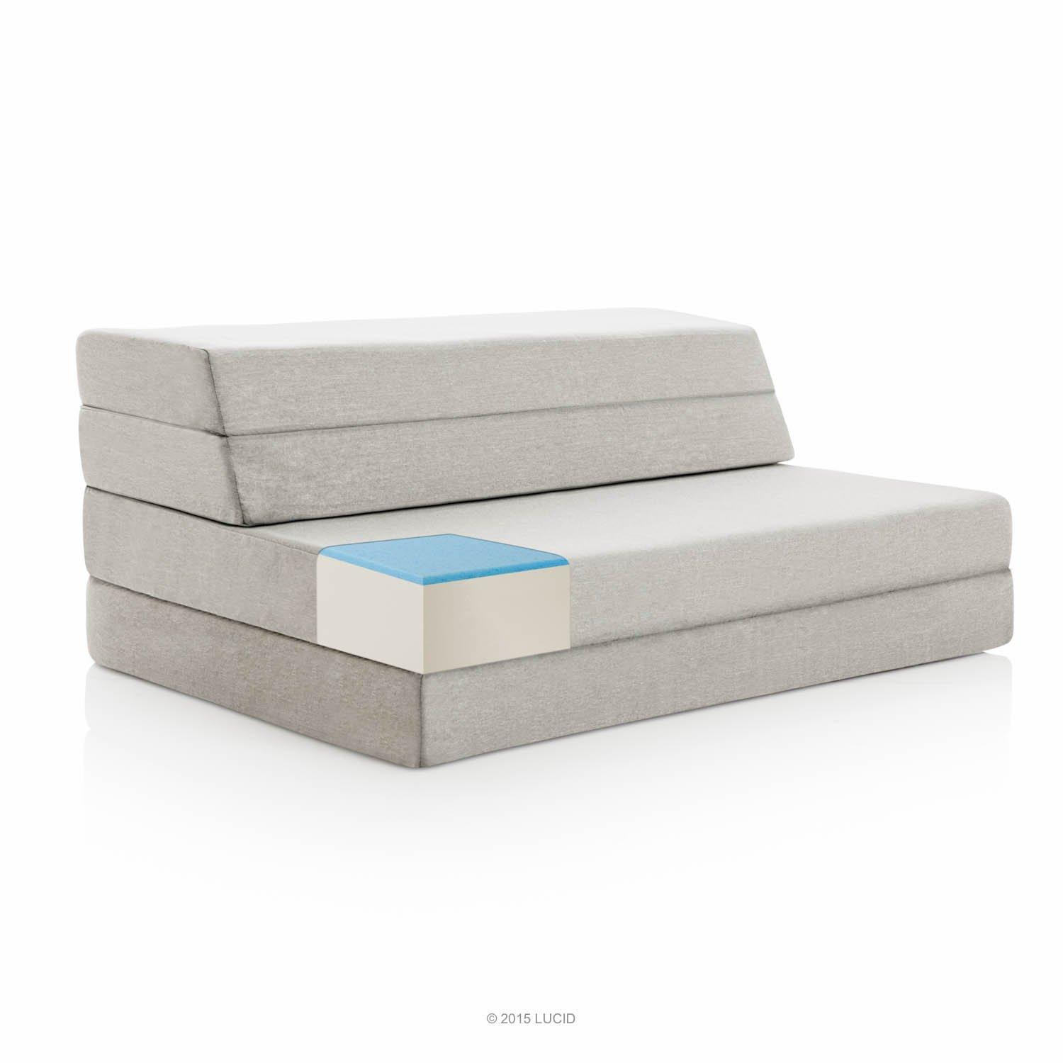 $79.99 LUCID 4 Inch Folding Mattress and Sofa with Removable Indoor