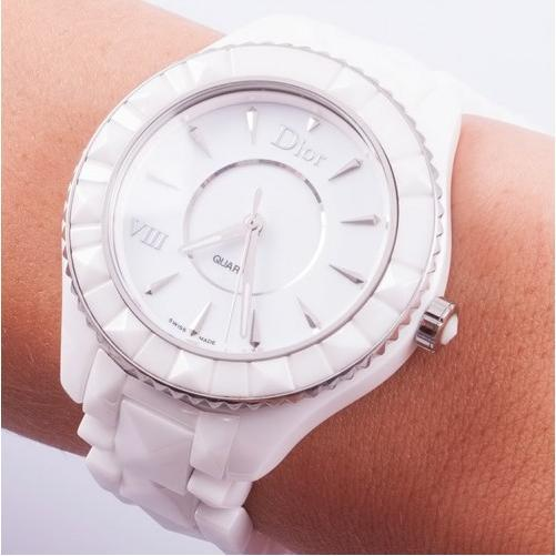 Dior VIII White Ceramic and Stainless Steel Ladies Watch CD1231E2C001