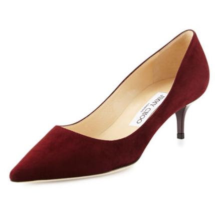 Jimmy Choo Aza Suede Kitten-Heel Pump, Dark Red