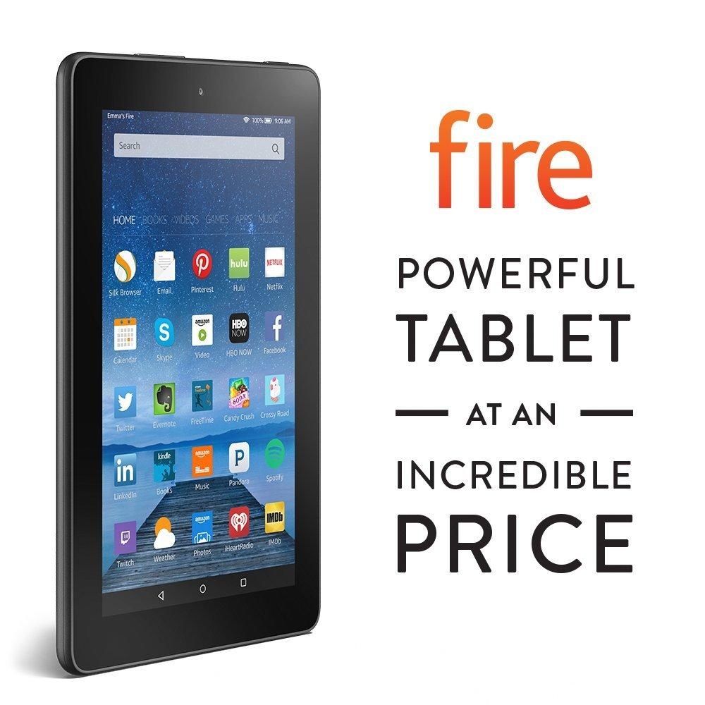 "$39.99 Fire, 7"" Display, Wi-Fi, 8 GB - Includes Special Offers, Black"