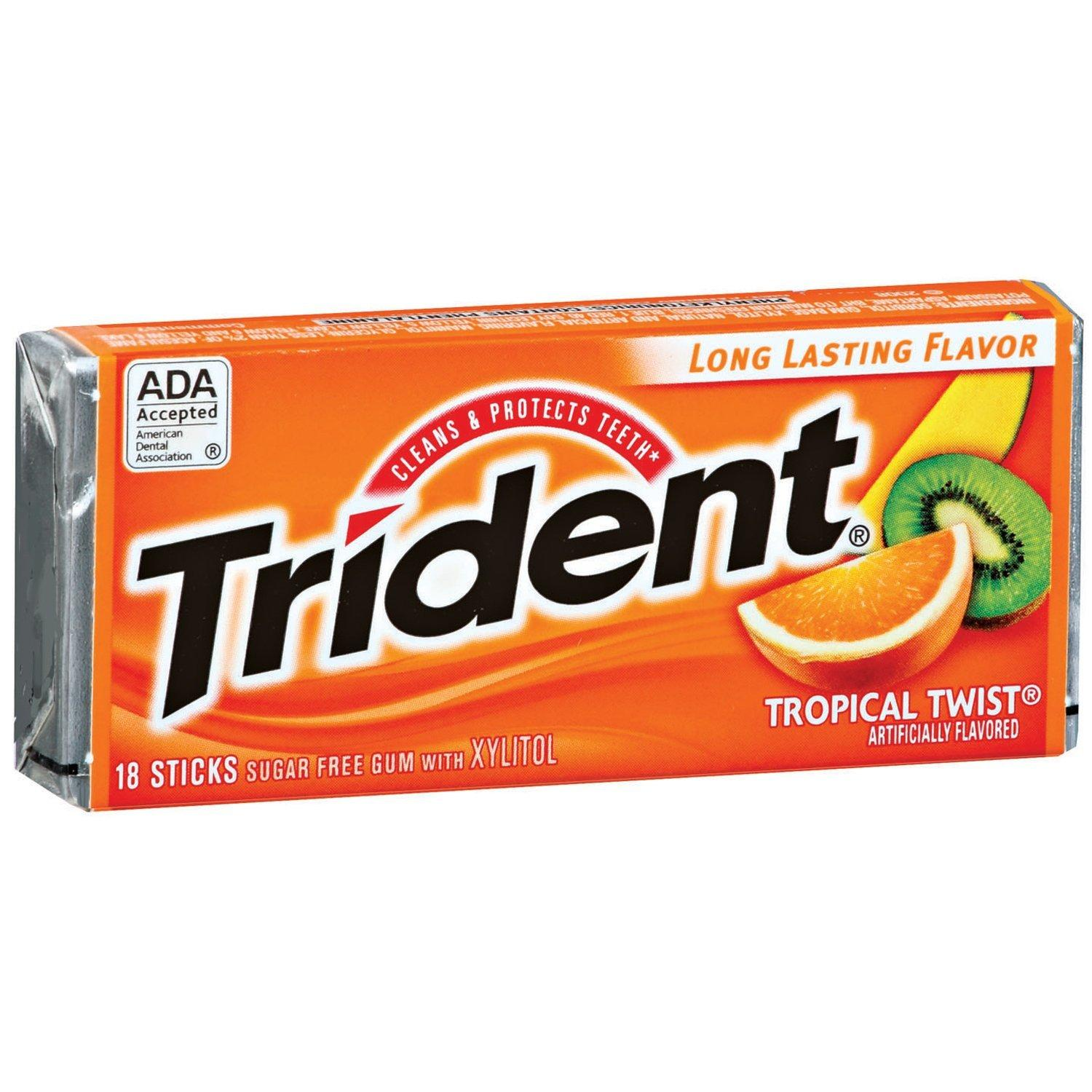 $6.80 Trident Gum, Tropical Twist, 18-count (Pack of 12)