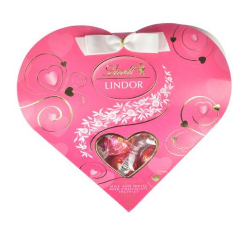 $6.25 Lindt Valentine Lindor Truffles Gift Box, Milk with White Mini Heart, 3.4 Ounce