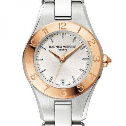 $549 Baume and Mercier Linea Silver Dial Stainless Steel Ladies Watch 10079