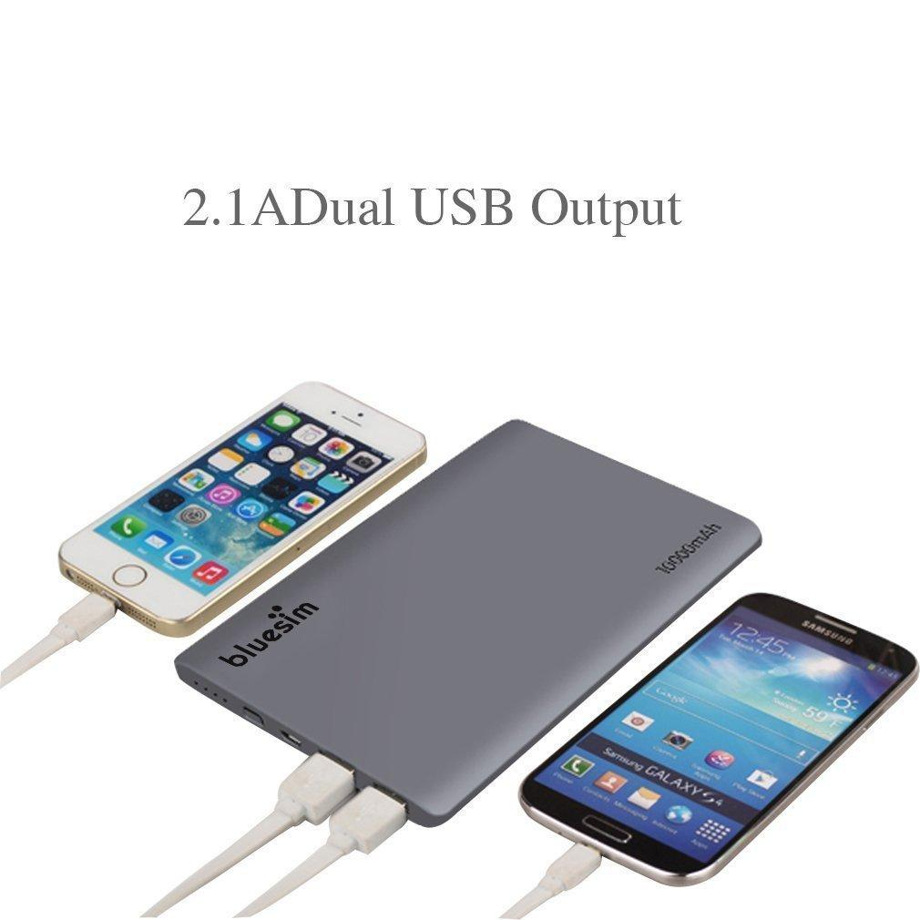 Portable Charger Bluesim Power Bank Slim 10000mah External Battery Dual USB Charger