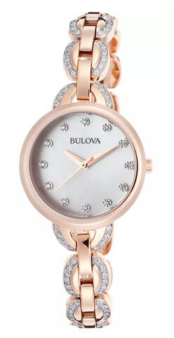 Bulova Women's Facets Rose-Tone Stainless Steel Mother of Pearl Dial Crystal Accent