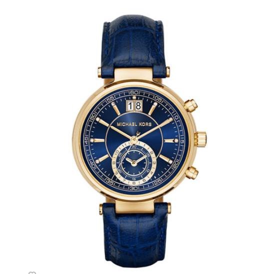 Michael Kors 39mm Sawyer Leather Strap Watch, Navy @ Neiman Marcus
