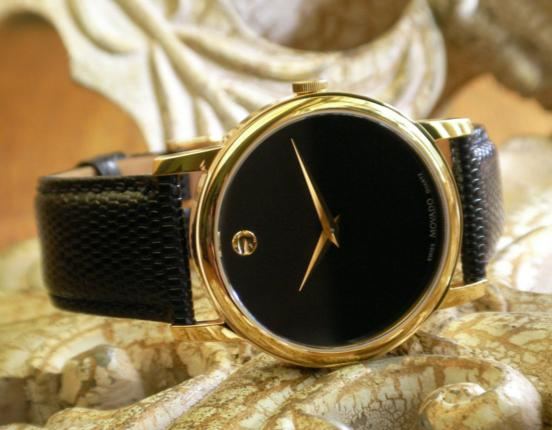 $189.99 Movado Museum Black Dial Black Leather Men's Watch