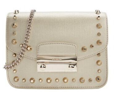 FURLA Beige Leather Studded 'Julia' Mini Crossbody @ Bluefly