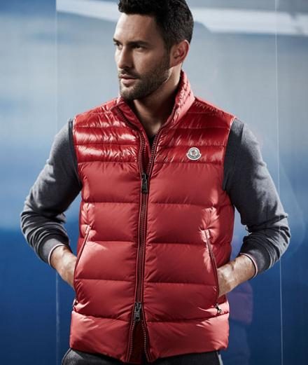 $585 Moncler Dupres Quilted Puffer Vest, Red @ Neiman Marcus
