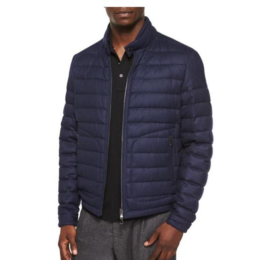 Moncler Delabost Quilted Bomber Jacket, Blue @ Neiman Marcus