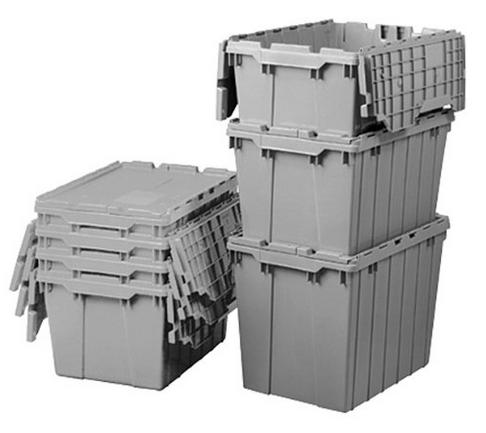 Akro-Mils 39120 Plastic Storage and Distribution Container Tote with Hinged Lid, Case of 6