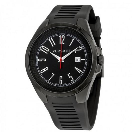 VERSACE V-Man Black Dial Black Rubber Strap Men's Watch
