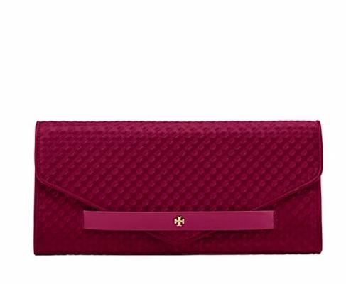 ELIZABETH EMBOSSED-SATIN CLUTCH @ Tory Burch