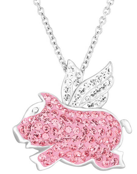 Flying Pig Pendant with Swarovski Crystals