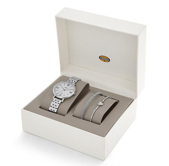 $78.30 Fossil Women's Jacqueline Three Hand Stainless Steel Watch with Bracelet Set