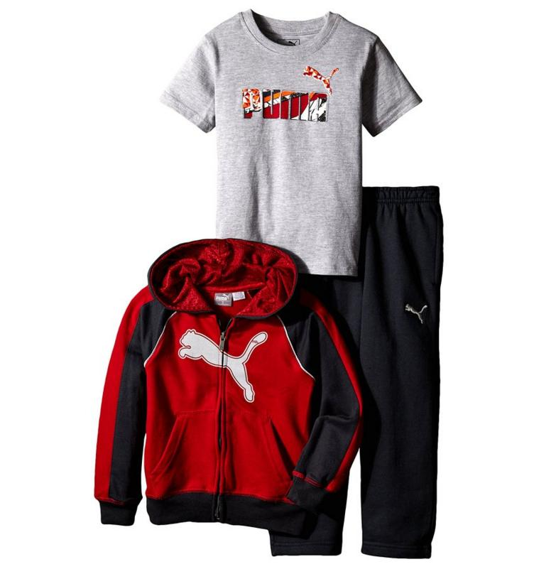 PUMA Little Boys' Reflective Cat Full Zip Hoodie with Pant and No.1 Logo Tee