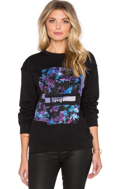 McQ by Alexander McQueen 'Classic' Floral Logo Cotton Sweatshirt On Sale @ Nordstrom