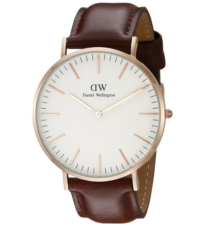 Daniel Wellington 0106DW Men's White Dial Brown Leather Band Watch