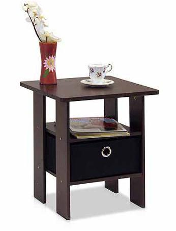 $14.98 Petite End Table Bedroom Night Stand with Foldable Bin Drawer