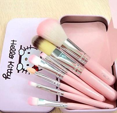 $6.99 CJB 7 Pcs Professional Pink Hello Kitty Soft Makeup Brush Set with Box