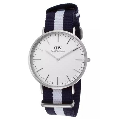 Daniel Wellington Men's Classic Glasgow Navy Blue and White Nylon White Dial Watch 0204DW