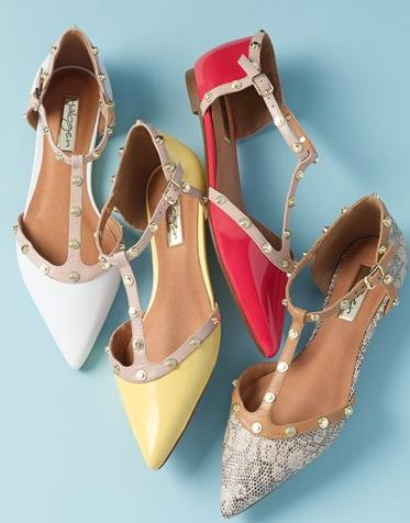 Halogen® 'Olson' Pointy Toe Studded T-Strap Flat On Sale @ Nordstrom