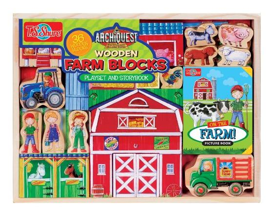 T.S. Shure ArchiQuest Wooden Farm Blocks Playset & Storybook @ Amazon