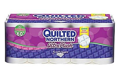 $9.99 Quilted Northern Ultra Plush Three-Ply Bathroom Tissue, 30 Rolls/Case