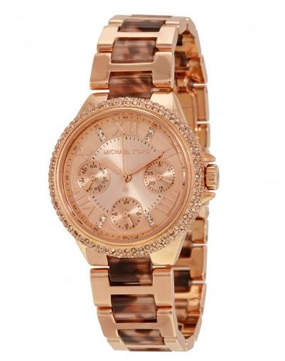 Michael Kors Camille Rose Gold-Tone Stainless Steel Tortoise Ladies Watch MK4308